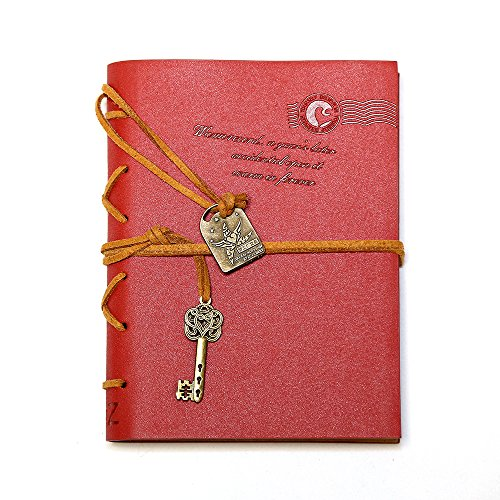 EvZ Journal Diary String Key Retro Vintage Classic Leather Bound Notebook, Red