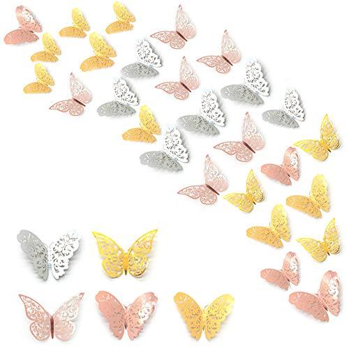 SITAKE 120 Pezzi 3D Adesivo da Parete Farfalla, Adesivo Artistico Metallico con Set 3 Dimensioni, Murales di Carta Decorativi fai Te per Camera Letto Delle Ragazze, Bagno Bambini(Colore-B)