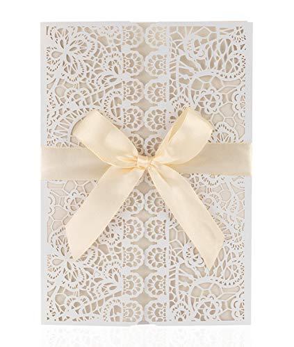LONGBLE Hochzeit EinladungsKarten Hochzeitseinladung Glückwunsch Einladung Karten, 20 Stück Elegante Blume Spitze Hochzeitskarten - auch Für Geburtstag / Taufe / Kommunion mit Umschlag