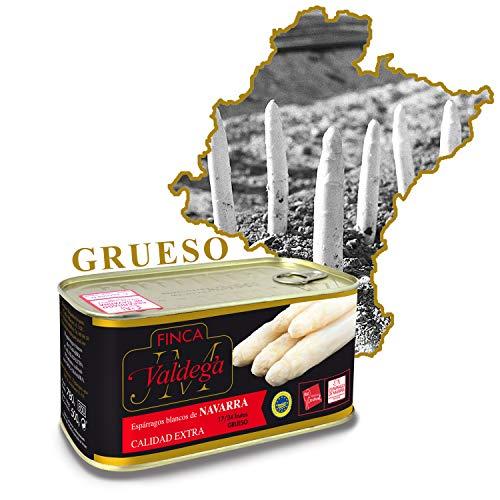 Finca Valdega - Espárragos Blancos Gruesos Calidad Extra | Alimentación Gourmet Lata de Conservas de 17/24 Frutos Indicación Geográfica Protegida de Navarra - 1000 gr