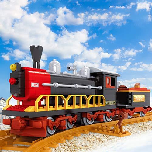 Morton3654Mam Juego de bloques de construcción con pistas, 406 piezas de locomotora de vapor para tren, ciudad, ferrocarril, tren MOC, bloques de construcción compatibles con la técnica Lego