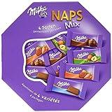 Milka Naps Mix - Zartschmelzende Mini-Schokoladentäfelchen aus Alpenmilch, Erdbeer, Haselnuss und Crème au Cacao - Packung - 10 x 138g