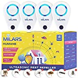Milars Pest Repellent Ultrasonic Plug in - Electronic Pest Control Devices Mosquito Repellent Plug in & Ultrasonic Pest Repeller Plug in for Mice Spider Bug Rodent Insect Ant Roach - 4 Pack