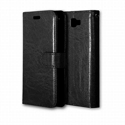 Handyhülle für LG K3 / K100, LS450 Hülle Tasche, Ougger Beutel Tasche Bumper Schale Schutzhülle PU Leder Weich Magnetisch Stehen Silikon Haut Flip Case Cover mit Kartenslot Farbe Schwarz