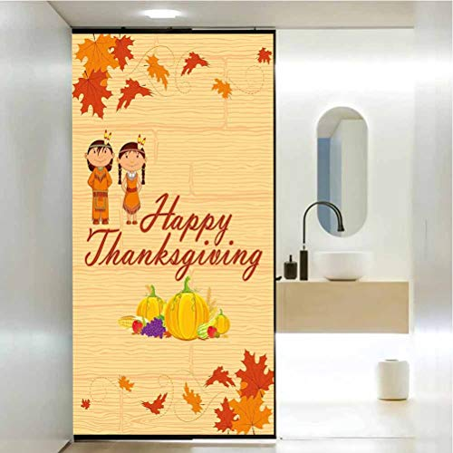 Pegatina decorativa anti UV para ventana, para nios de Accin de Gracias con disfraz nativo americano, pelcula de vidrio de privacidad para el hogar y la oficina, 35.4 x 78.7 pulgadas