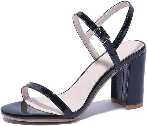 HmDco Damen Peep Toe Sandalen Schnalle Schuhe mit High Heels, schwarz