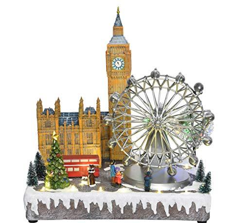 TFH LED Paesaggio di Natale Londra Villaggio di Natale Illuminato Carillon Illuminazione di Natale Decorazione Città di Natale Personaggi di Natale spaventati Modern Carillon
