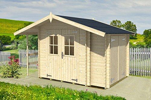 Gartenhaus Anbauschrank G104 mit Anbauschrank und Seitendach inkl. Fußboden - 18 mm Blockbohlenhaus, Grundfläche: 6,60 m², Satteldach