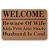 Norma Lily Felpudo de Entrada para Niños con Texto en Inglés Welcome Beware of Wife Kids Pets, no Tejido, para Interiores y Exteriores, Decorativo, para el hogar y la Oficina, DE 76,2 x 45,7 cm