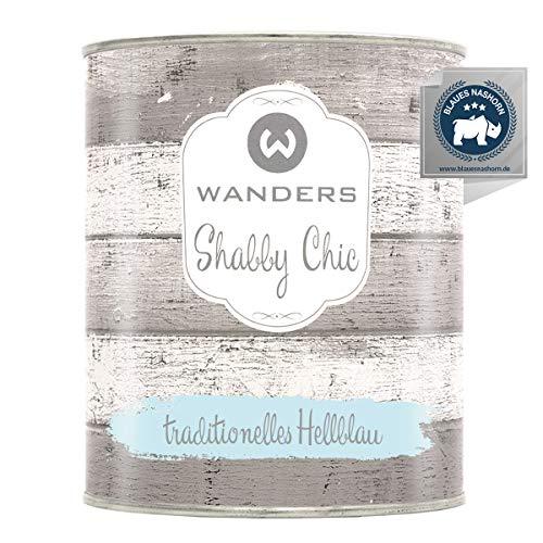 Wanders24® Kreidefarbe (750 ml, traditionelles Hellblau) Holzfarbe für Shabby Chic Look - Möbelfarbe einfach zu verarbeiten - Möbellack auf Wasserbasis - Made in Germany