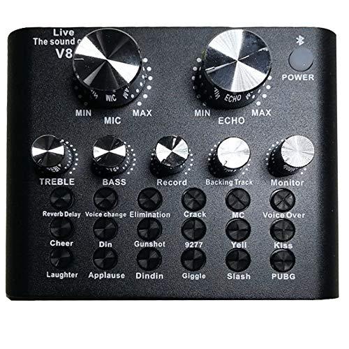 DERCLIVE V8 USB Externe Soundkarte für Handy Computer Soundkarte für Online-Gesang Live-Übertragung Schwarz