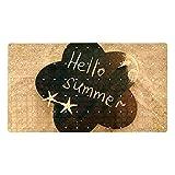 Ameolone Hello Summer - Alfombrilla de baño con ventosas y agujeros de drenaje para ducha