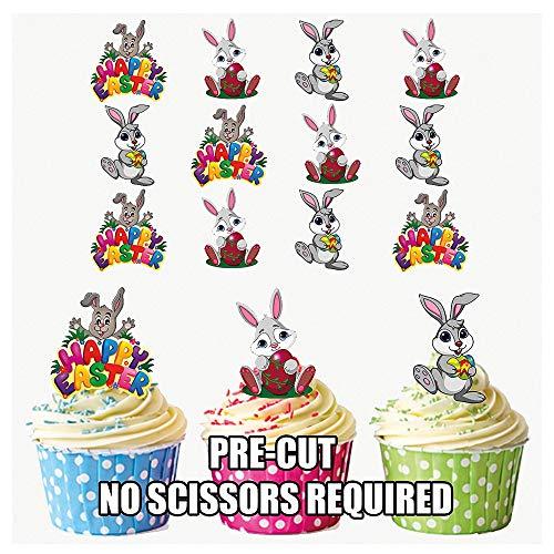 Lot de 12 décorations de gâteaux comestibles motif lapins de Pâques Tiennent debout