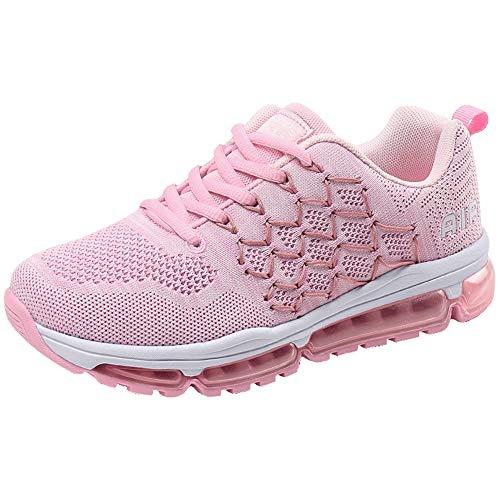 Air Zapatillas de Running para Hombre Mujer Zapatos para Correr y Asfalto Aire Libre y Deportes Calzado 1643 Unisexo Pink 38