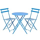 Best Choice Products 3-Piece Portable Folding Metal Bistro Set w/Table and 2 Chairs, Blue