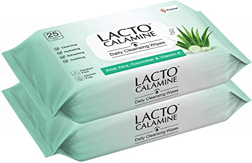Lacto Calamine Daily Cleansing Face Wipes with Aloe Vera, Cucumber and Vitamin E (25 wipes) Pack of 2