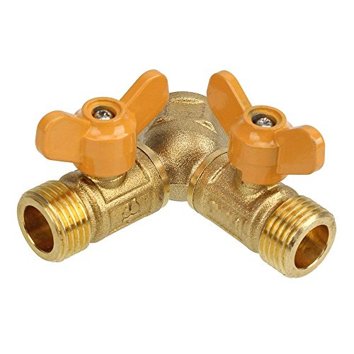Solid Brass Y Ball Valve Comfort Grip for Oil and Gas Hoses Connector Splitter Adapter