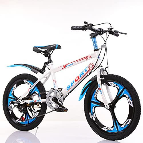 Bicicleta de montaña infantil de 22 pulgadas, de acero al carbono, neumáticos de goma anchos y gruesos, frenos de rueda dobles delanteros y traseros, máxima capacidad de carga de 200 kg (azul)