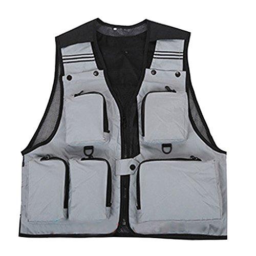 Suyi - Chaleco con bolsillos multiusos para acampadas, pesca, senderismo, caza, gris,...