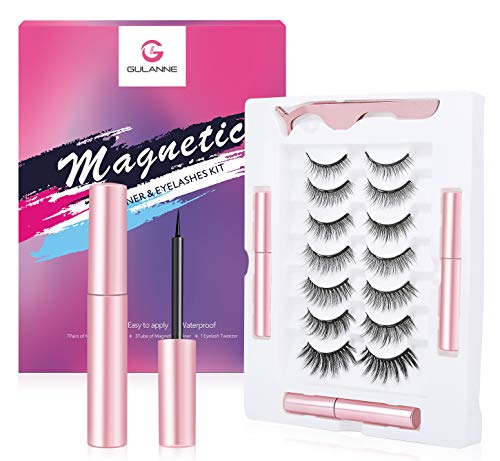Magnetic Eyelashes with Eyeliner, 7 Pairs Newest Custom Life &Party Styles Natural Look Magnetic Lashes, Eyelashes with 3 Tubes Eyeliner- No Glue