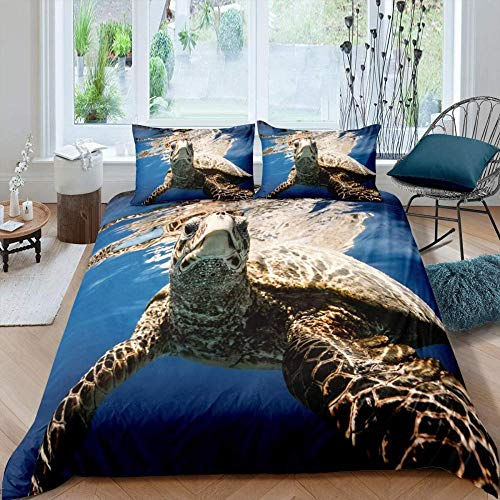 dsgsd funda nórdica Criatura submarina mar azul linda tortuga marina 260x240cm Juego de ropa de cama de estilo simple, funda de edredón suave, sábana, fundas de almohada, ropa de cama para niños y adu
