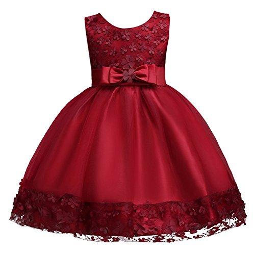 FYMNSI Kinder Mädchen Partykleid Blumen Tutu Prinzessin Hochzeit Brautjungfer Kleid Blumenmädchen...