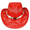 Silver Fever Ombre Woven Straw Cowboy Hat with Cut-Outs,Beads, Chin Strap (Red, Beaded)