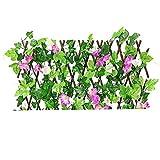 LjzlSxMF Valla Decoración retráctil Enrejado Valla Valla La expansión de cribado con Hojas Artificiales Rojos del Narciso por un Patio Trasero de la decoración (Pequeño púrpura E)