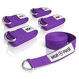 High Pulse® Cintura Yoga (300 x 3,8 cm) - Cinghia Yoga di Alta qualità con Fibbia di Chiusura Come Pratico ausilio per Yoga e Pilates - 100% Cotone (Viola)