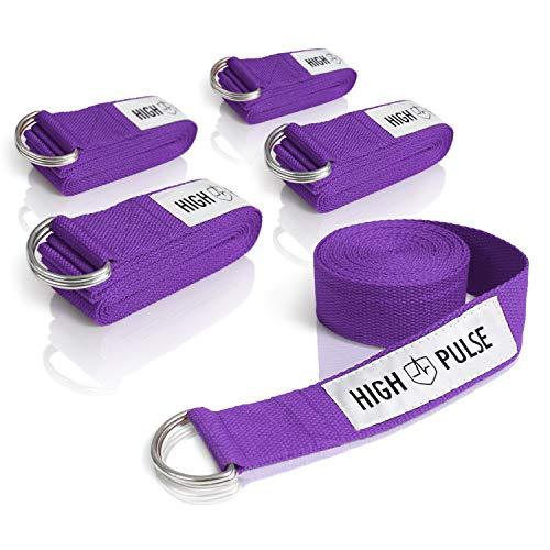 High Pulse® Yogagurt 5er Set (300 x 3,8 cm) - Hochwertiger Yoga Gurt mit Verschluss als praktisches Hilfsmittel beim Yoga oder Pilates – 100%...