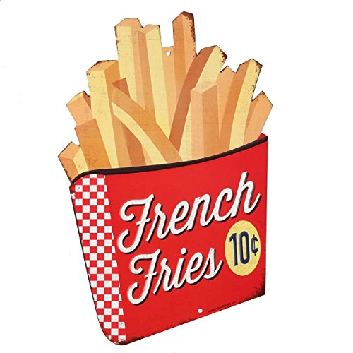 Open Road Brands Vintage French Fries Embossed Tin Metal Wall-Art