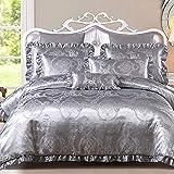 Semplice raso biancheria da letto in cotone 4 pezzi cerniera invisibile copriletto jacquard lenzuola federe per la casa singolo/matrimoniale moderno C Argento