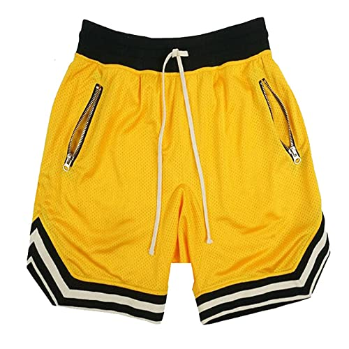 Burkashear Pantalones cortos deportivos de entrenamiento de gimnasio para hombre, entrenamiento de correr, botines con cordón, cinturón elástico, pantalones de playa, de secado rápido amarillo L
