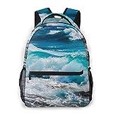 Mochila para portátil Beach Blue Motion Nature Ocean Hombres y Mujeres Mochila de Lona de Estilo Casual Mochila Escolar,