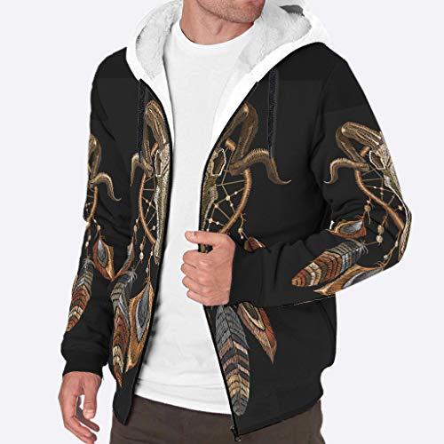 Toomjie Herren-Sherpa-Pullover, langärmelig, durchgehender Reißverschluss, goldfarben, Fleece, Herbst, Winter, warm, mit Taschen S weiß