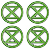 FaithHeart Rebelión de extinción Broches Verdes Aceites de Símbolo 4 Piezas Conjunto Aleación Metálica Accesorios para Ropa