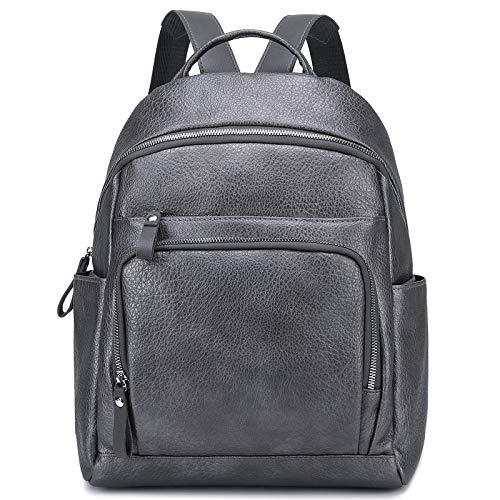 Myhozee Fashion Women Backpack Ladies PU Leather Rucksack Waterproof Daypack Medium School Backpack Cityrucksack Satchel-Grey