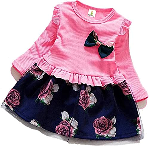Girls Cotton and Polyester Full Sleeves Dress in Pink Color