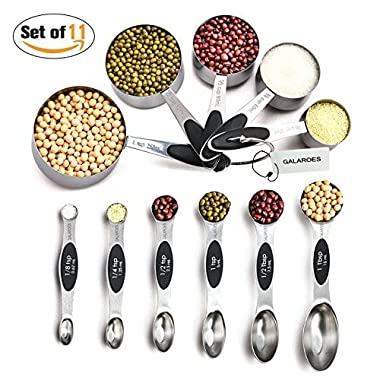 Stainless Steel Measuring Spoons and Measuring Cups Set of 11, 6 Stackable Magnetic Measuring Spoons & 5 Nesting Measuring Cups, Measuring Dry and Liquid Ingredients.