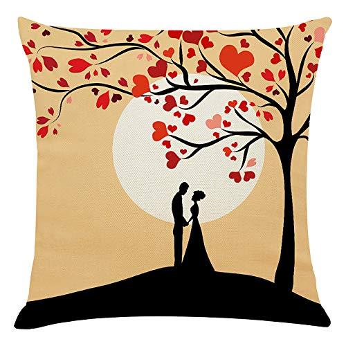 Janly Clearance Sale Funda de almohada, para el día de San Valentín, funda de cojín para sofá, decoración del hogar, para Navidad, hogar y jardín, (C)