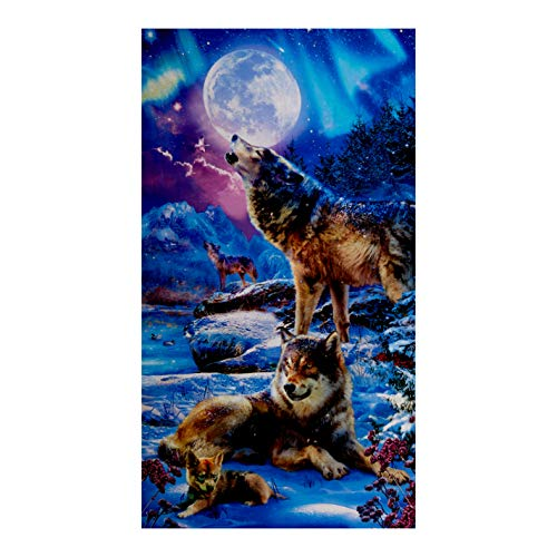 Kaufman Picture This 24'' Panel Wolves Nightfall Quilt Fabric