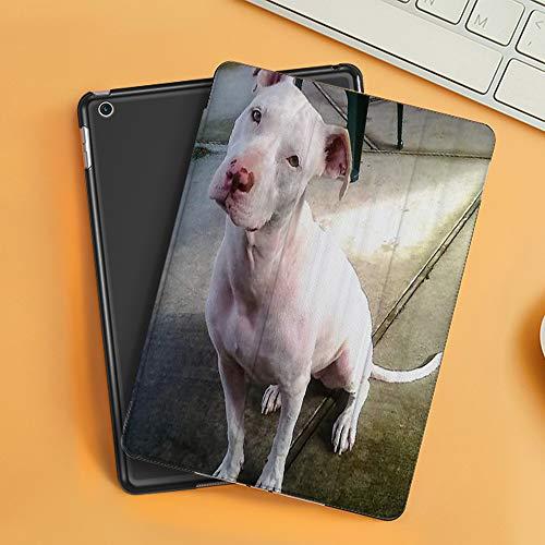 Funda iPad 10.2 Inch 2018/2019,American Pitbull Terrier Blanco Blanco Pit-Bull,Cubierta Trasera Delgada Smart Auto Wake/Sleep