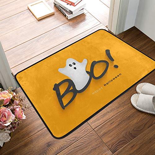 Mr.Lucien Felpudo pequeño Halloween Happy Boo blanco para puerta interior, dormitorio, puerta delantera, baño, cocina, etc. 2020075