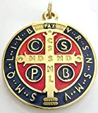 GTBITALY 60.050.21 medalla de San Benito oro esmaltado tamaño 48 mm con anillo de prete exorcismo Suora Iglesia sacerdote Santo