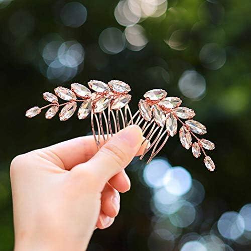 Unicra Bride Rhinestones Wedding Hair Comb Crystal Bridal Headpiece Rose Gold Hair Accessories product image