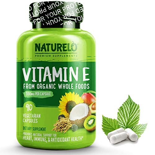 NATURELO Vitamin E with Mixed Tocopherols from Natural Sources (Coconut, Sunflower & Rice Bran) – Plus Avocado, Mango, Kiwi & BlackBerry Extracts - 180mg Dose - 90 Vegan Capsules | 3 Months Supply