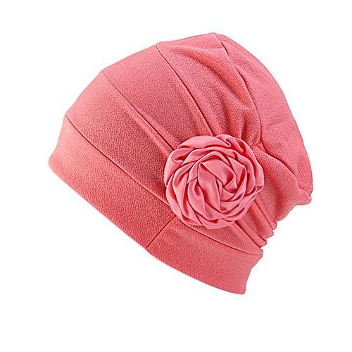 E-House Populaire Hoed Moslim Vrouwen Zijkant Bloemen Turban Hoed Effen Kleur Chemo Cap Bandana Headwrap - Wijn Rood Watermeloen Rood