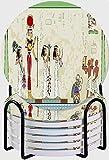 GUVICINIR Juego de 6 Posavasos de cerámica Absorbente con Base de Corcho,Apto para Tipos de Tazas,Murales de Pesaj Escena del Antiguo Egipto Jeroglífico y símbolo Egipcio
