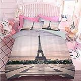 Juego de funda de edredón de 3 piezas con cierre de cremallera Trocadero y Torre Eiffel en Sunshine Paris Skyline vista histórica del paisaje (3 piezas, tamaño queen), suave y cómodo