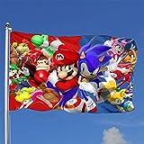 Bandera de Sonic y Mario para decoracin de casa con Rayos UV, antidecoloracin, para Exteriores, Temporada y Patio, de Vacaciones, 4 x 6 pies